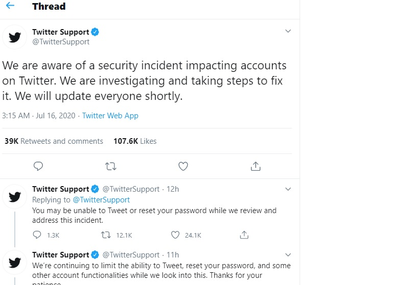 Twitter support response on bit coin scam